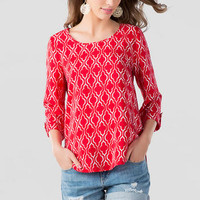 University Printed Blouse in Red