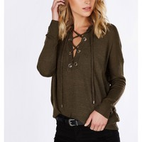Over The Top Lace Up Pullover
