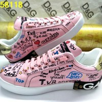 D&G Dolce & Gabbana Men's Women's Leather Fashion Sneakers Shoes pink