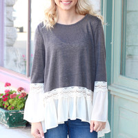 Leave a Trail Bell Sleeve + Chiffon Blouse {Grey}