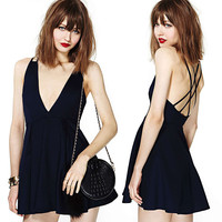 Deep V-Neck Cross Strappy Back Skater Mini Dress