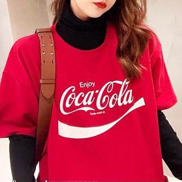Coca-Cola Summer Women Men Casual Personality Print Short Sleeve T-Shirt Top Blouse