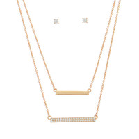 Layering necklace set featuring a solid bar and rhinestone bar.