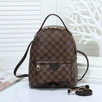 LV Louis Vuitton classic printed letters ladies backpack school bag Coffee tartan