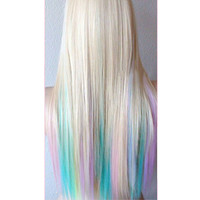 Women's Lolita Long Straight Full Wig Hair Rainbow Multi-color Cosplay Party