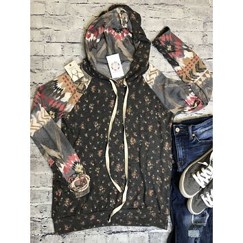 Aztec Floral Hoodie Top In Charcoal And Multi Colored