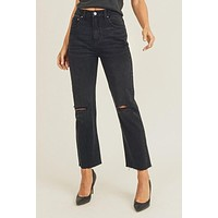 High Rise Distressed Knee Straight Jeans