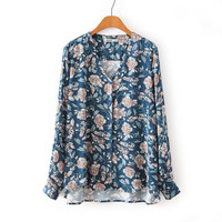LT399 New Fashion Ladies' elegant floral animal print blouses vintage V neck long sleeve shirt casual butterfly dragonfly tops