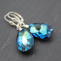 Large Peacock Blue Sparkly Swarovski Crystal Earrings with Sterling Silver Ear-wires.
