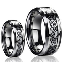 His & Her's 8MM/6MM Dragon Design Tungsten Carbide Wedding Band Ring Set (Available Sizes 5-14 Including Half Sizes) Please e-mail sizes