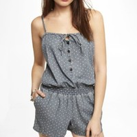 HEART PRINT DENIM ROMPER