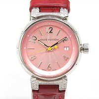 LOUIS VUITTON Diamond Tambour Quartz Watch red Leather belt Q121E