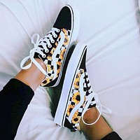 Vans Old Skool Classics Sneaker Black Yellow Tartan Diasy Shoe Sunflower Shoes