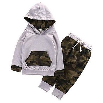 Kid baby Boys clothing born Baby Boy Girl Camouflage Clothes Cotton Hooded Tops Leggings Pants Outfits