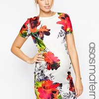 ASOS Maternity Exclusive Textured Bodycon Dress in Multi Mirror Floral Print at asos.com