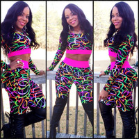 Pink Loom Band Print Long Sleeve Cropped Top and Pants