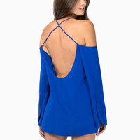 Off Shoulder Backless Strappy Chiffon Long Sleeve Top