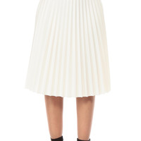 Ivory Faux Leather Pleated Midi Skater Skirt