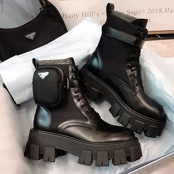 Prada Women's cowhide Martin boots, buckle motorcycle cool style, stretch platform short boots