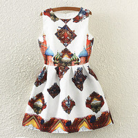 Geometric Print Sleeveless Pleated Dress