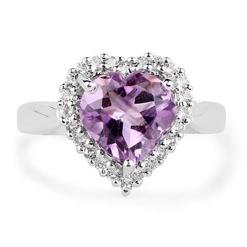 A Natural 3.53CT Heart Cut Purple Amethyst Halo Ring
