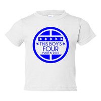 This BOY'S FOUR Made In 2010 Happy FORTH Birthday Printed Graphic Fashion  Tee Kids Youth Toddler Infant T Shirt Birthday T Shirt Only Here
