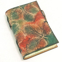 ONEOFAKIND Leaves Leather Journal by GILDBookbinders on Etsy