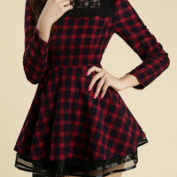 Lace Embellished Checked Dress with Mesh Drape - Glitzx