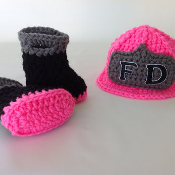 Baby Girl Firefighter Fireman Hat & Boots - Crochet Fire Helmet and Boots Set - Photography Prop - Newborn - 0-3 - 3-6 - 6-9 - 9-12