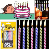20pcs Magic Trick Funny Relighting Candle Birthday Cake Mate Party Prank Joke (Size: 6 cm) = 1946744068