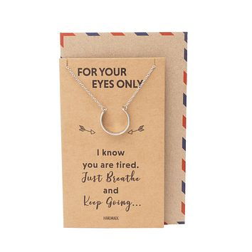 Daria Keep Fucking Going Cuff Pendant Necklace, Engraved Gifts Jewelry Greeting Cards