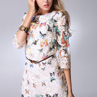 Butterfly Print Sheer Sleeve Floral Lace Mini Dress
