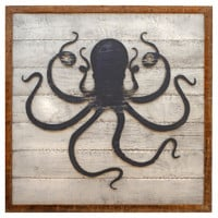 Framed Octopus Wall Art, Silver, Signs