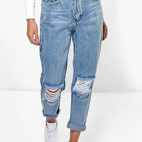 Penny Light Blue Open Knee Boyfriend Jeans | Boohoo