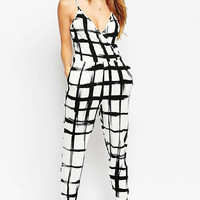 Ink Plaid Strappy V-Neck Jumpsuit