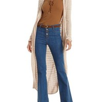 Natural Open Knit Duster Cardigan Sweater by Charlotte Russe