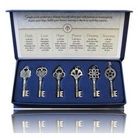 Engraved With Faith, Love, Hope, Peace, Dream & Success Inspirational Keys Pendants Necklace
