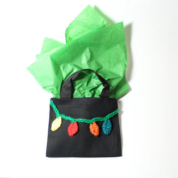 Christmas Mini Gift Bag/ Xmas lights goodie bag/ Reuseable Crochet Gift Bag
