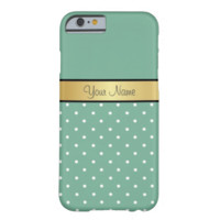 Gold Monogram Chic Spearmint Green White Polka Dot Barely There iPhone 6 Case