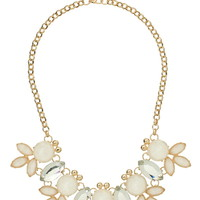white gem and crystal flower statement necklace