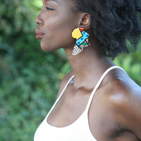 Wooden Africa abstract earrings hand painted 2