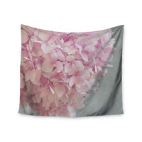 """Suzanne Harford """"Pastel Pink Hydrangea Flowers"""" Pink Floral Wall Tapestry"""