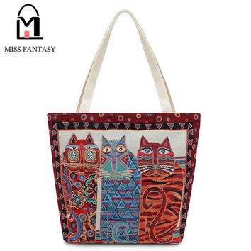 2017 Embroidery 3 Tall Cats Summer Beach/Travel  Bag