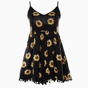 Straps Sunflower Print Jumpsuits Casual Vintage Short Rompers Womens Jumpsuit Plus Size
