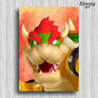 bowser print super mario art nintendo room decor mario party