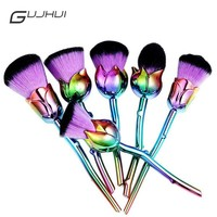 Professional 6pcs Rose Flower Makeup Brush Sets Pink Purple Easy to Makeup Foundation Powder Makeup Brushes Lots Cosmetic Tools