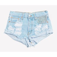 Malibu Pale High Waisted Studded Roller Shorts