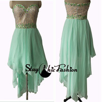 Lime Rhinestone Strapless Striped Beaded Top High to Low Prom Dress