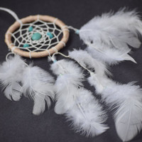 White Dream Catchder, Rear View Mirror Charm, Car Accessory for Women, Small Dream Catcher with Turquoise stone beads