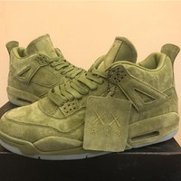 Kaws X Air Jordan 4 Military Green Basketball Shoes 40 47